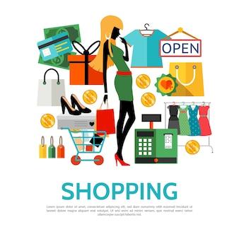 Conceito de ícones de compras planas