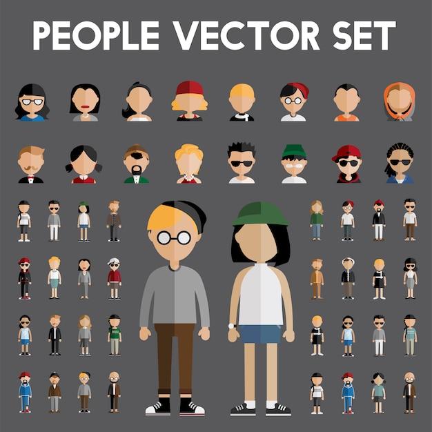 Conceito de ícones de design plano de pessoas de comunidade de diversidade