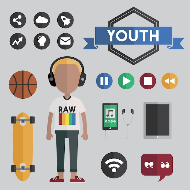 Conceito de ícones de design plano de rapaz juvenil