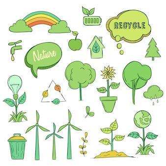 Conceito de ícones de ecologia com arte doodle colorido