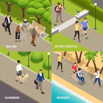 Conceito de ícones isométrica de reabilitação 4 de atividades ao ar livre de pessoas com deficiência com cego velho e amputado
