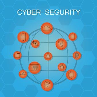 Conceito de ícones redondos de segurança cibernética