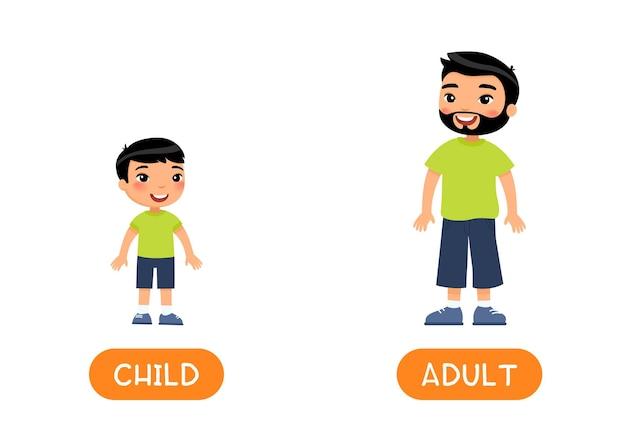 Conceito de idade opostos adulto e criança