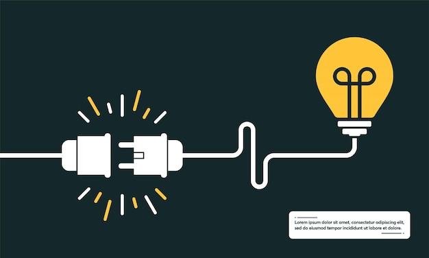 Conceito de ideia, cérebro humano em uma lâmpada, sinal de lâmpada criativa com plugue elétrico e ilustração vetorial de fundo de cabo