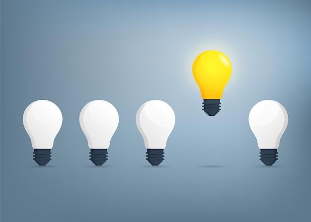 Conceito de ideia com ilustração do símbolo de lâmpadas.