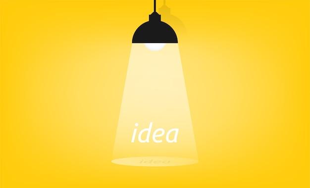 Conceito de ideia com o símbolo da luz do palco. ilustração.