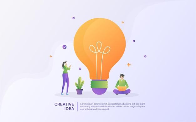 Conceito de ideia criativa com pessoas minúsculas