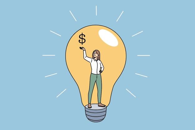 Conceito de ideia, criatividade e lucro. jovem sorridente mulher de negócios em pé dentro de uma lâmpada segurando o cifrão na ilustração vetorial de mão levantada