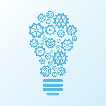 Conceito de ideia de lâmpada de engrenagens