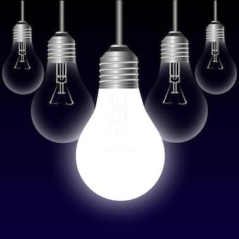 Conceito de ideia de lâmpada em um fundo preto. ilustração vetorial