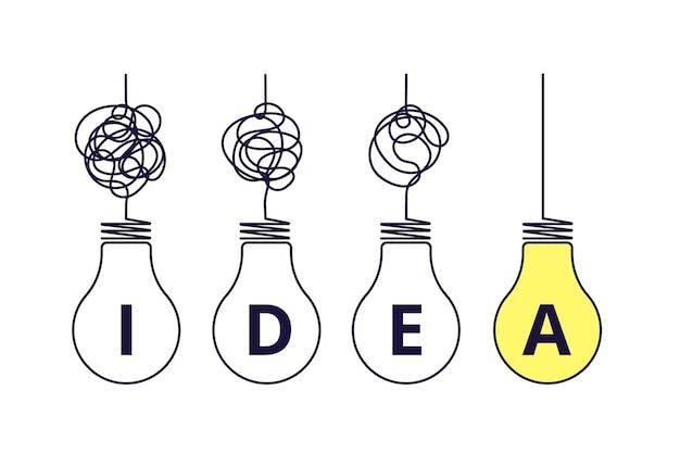 Conceito de ideia de lâmpadas.