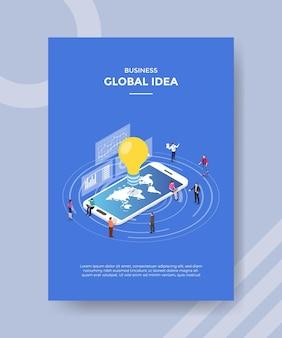 Conceito de ideia global para banner e folheto de modelo