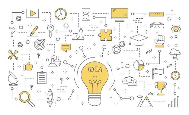 Conceito de ideia. mente criativa e brainstorm. lâmpada como metáfora da ideia. conjunto de ícones de inovação e educação. ilustração de linha