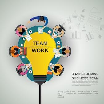 Conceito de idéia para trabalho em equipe de negócios.