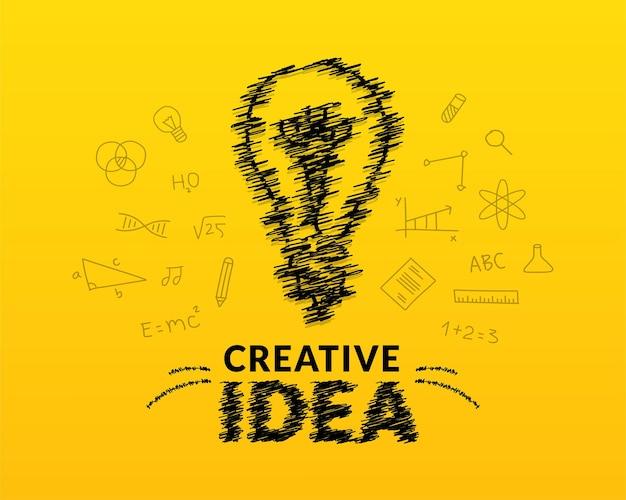 Conceito de ideias criativas com inspiração de lâmpada de doodle e letras de tipografia de fundo