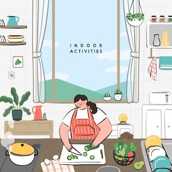 Conceito de idéias de passatempo que pode fazer em casa. fique em casa série de conceito. cozinhando na cozinha.