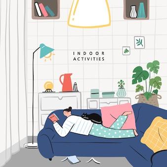 Conceito de idéias de passatempo que pode fazer em casa. fique em casa série de conceito. lendo livros