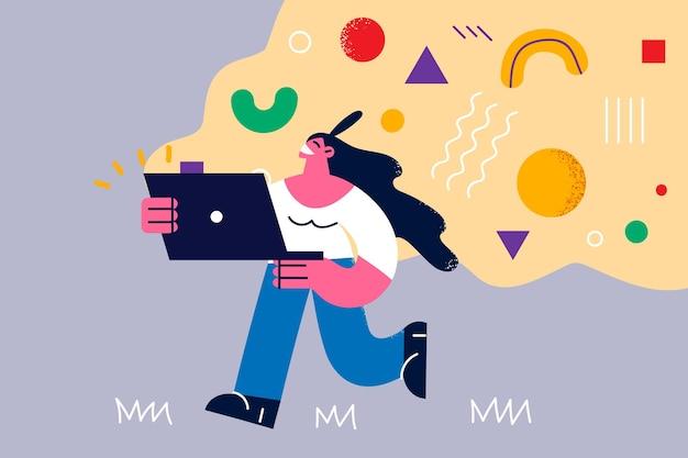 Conceito de ideias e tecnologias criativas. jovem personagem feminina sorridente indo com o laptop com idéias e coisas criativas voando à frente.