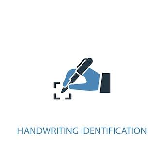 Conceito de identificação de escrita manual 2 ícone colorido. ilustração do elemento azul simples. design de símbolo de conceito de identificação de escrita à mão. pode ser usado para ui / ux da web e móvel