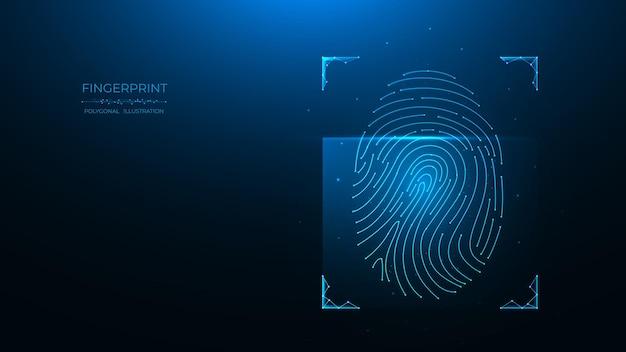 Conceito de identificação de impressão digital de dados biométricos design de baixo poli