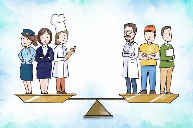 Conceito de igualdade de gênero com escalas