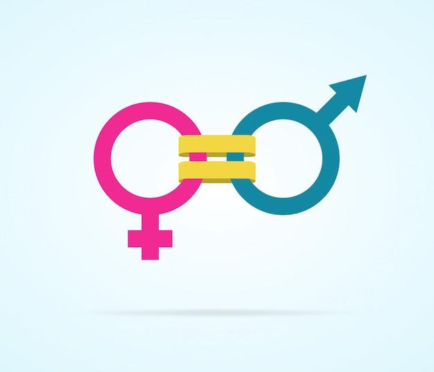 Conceito de igualdade de gênero com símbolos de gênero