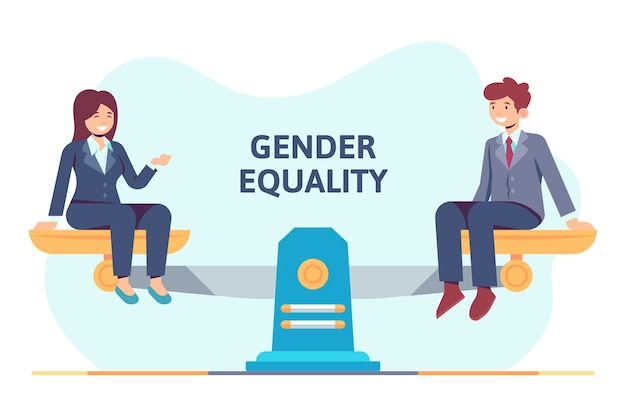 Conceito de igualdade de gênero de design plano com homem e mulher
