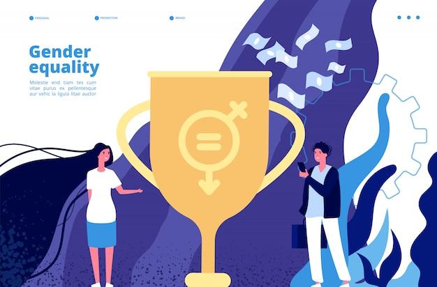 Conceito de igualdade de gênero. direitos e oportunidades iguais entre homens, mulheres. movimento do feminismo para a tolerância de gênero