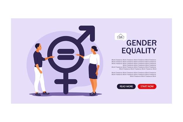 Conceito de igualdade de gênero. página de destino para a web. personagem de homens e mulheres nas escalas de igualdade de gênero. ilustração vetorial. apartamento.
