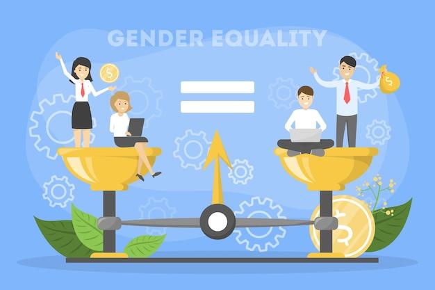 Conceito de igualdade de gênero. personagem feminino e masculino