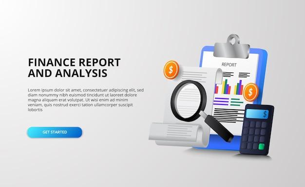 Conceito de ilustração 3d de análise de relatório financeiro e monetário para auditoria fiscal, pesquisa, planejamento e economia