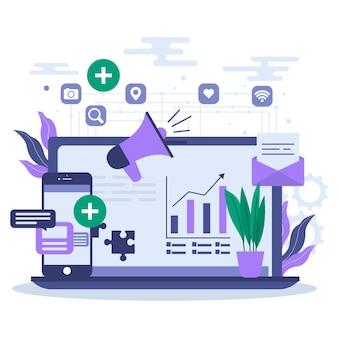 Conceito de ilustração cms com laptop e aplicativos