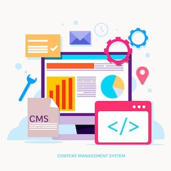Conceito de ilustração cms com tela de computador e aplicativos