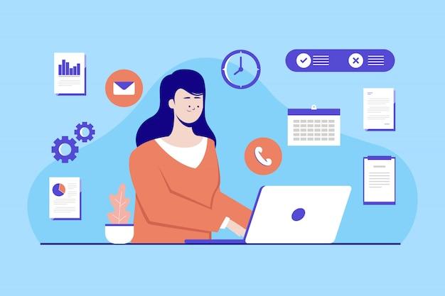 Conceito de ilustração com multitarefa. mulheres trabalhando no laptop. ilustração plana.