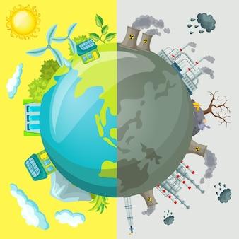 Conceito de ilustração comparativa de ecologia dos desenhos animados