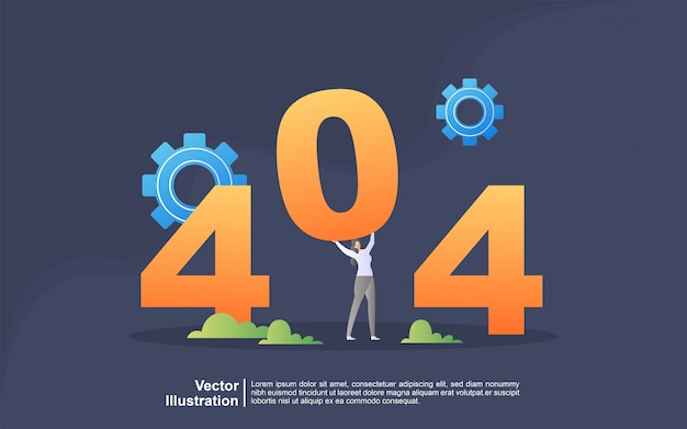 Conceito de ilustração da página de erro 404 não encontrada. atualizações do sistema