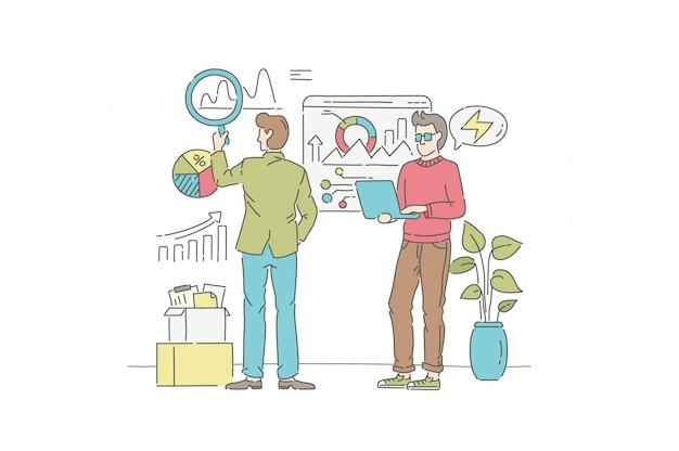 Conceito de ilustração de análise de negócios. símbolo de gestão, trabalho em equipe, parceria.