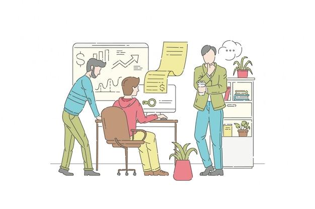 Conceito de ilustração de análise financeira. símbolo de gestão, trabalho em equipe, negócios.