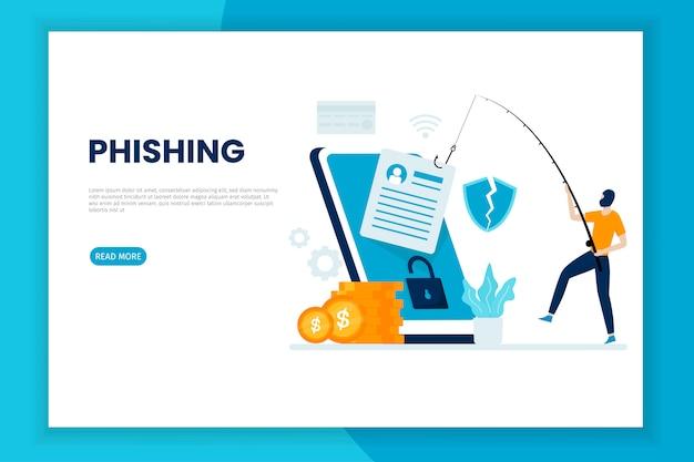 Conceito de ilustração de ataque de phishing móvel