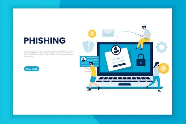 Conceito de ilustração de ataque de phishing