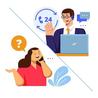 Conceito de ilustração de atendimento ao cliente