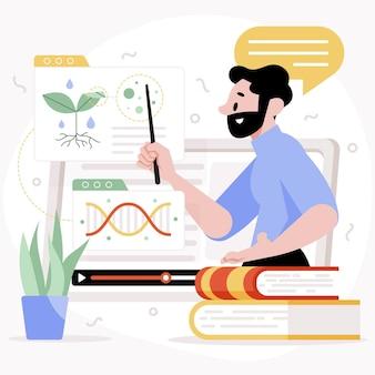 Conceito de ilustração de aula online