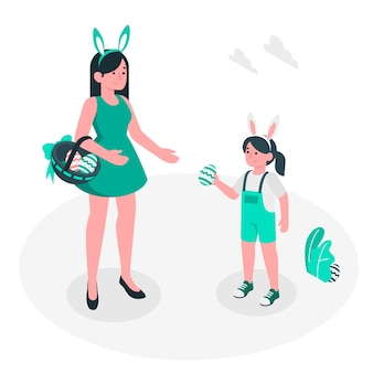 Conceito de ilustração de caça ao ovo de páscoa