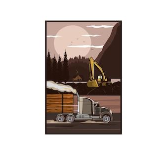 Conceito de ilustração de caminhão carregue o bosque
