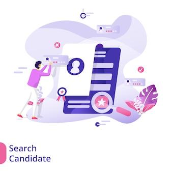 Conceito de ilustração de candidato de pesquisa de página de destino