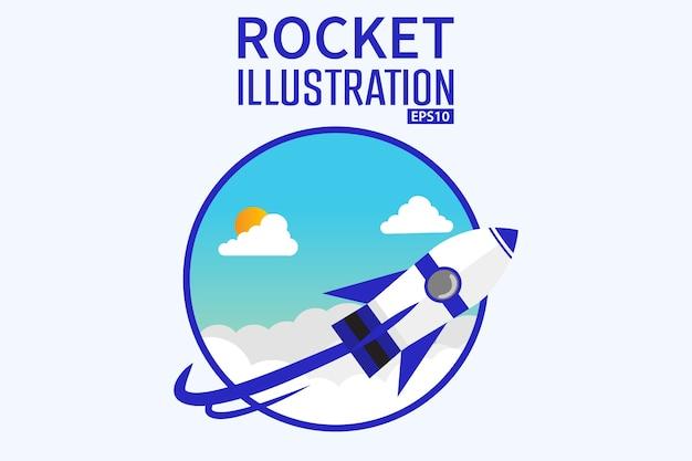 Conceito de ilustração de cartunista 3d foguete fundo