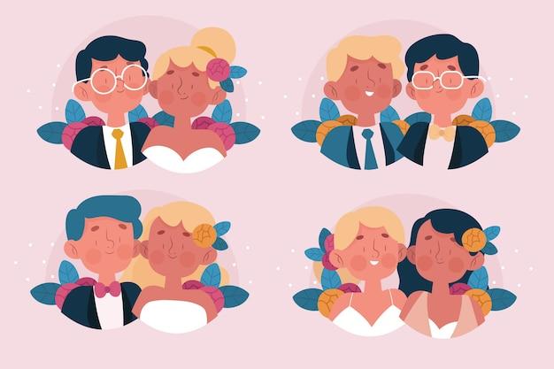 Conceito de ilustração de casais de casamento