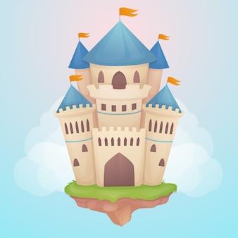 Conceito de ilustração de castelo de conto de fadas