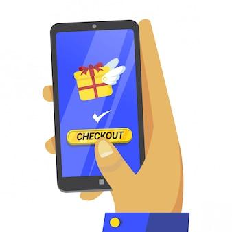 Conceito de ilustração de checkout de comércio eletrônico divertido