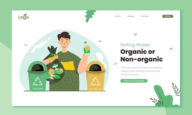 Conceito de ilustração de classificação de resíduos orgânicos ou não orgânicos